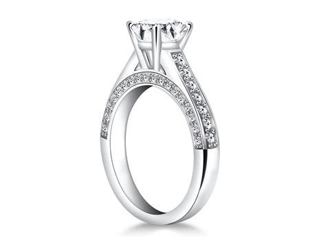 Pave Diamond Cathedral Engagement Ring Mounting in 14k