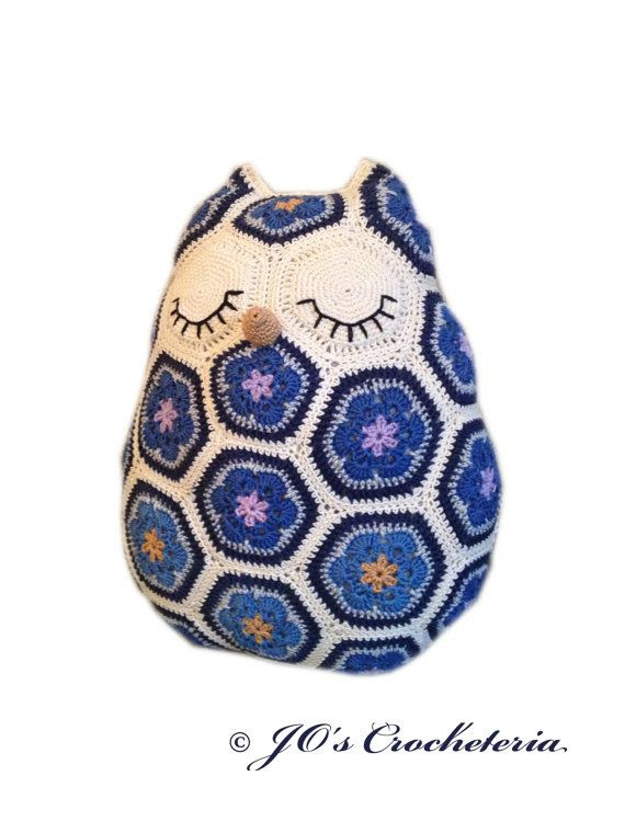 Crochet Pattern - Maggie the African Flower Owl Pillow