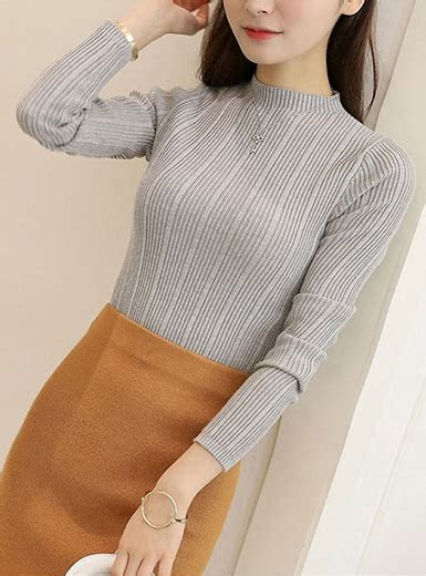 womens mock turtleneck sweater long sleeves wide ribbed knit styling