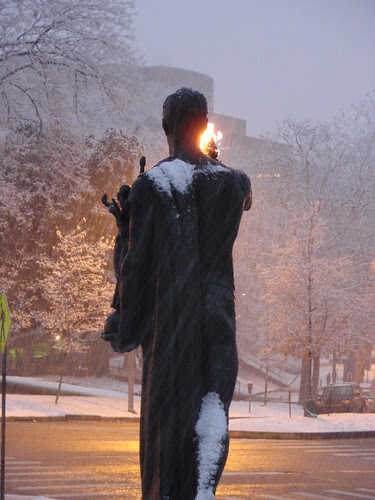 torchbearer and snowfall
