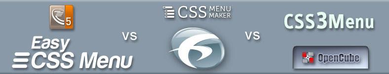 CSS Menu Maker vs Likno vs Easy CSS Menu vs CSS3menu vs OpenCube vs Swimbi