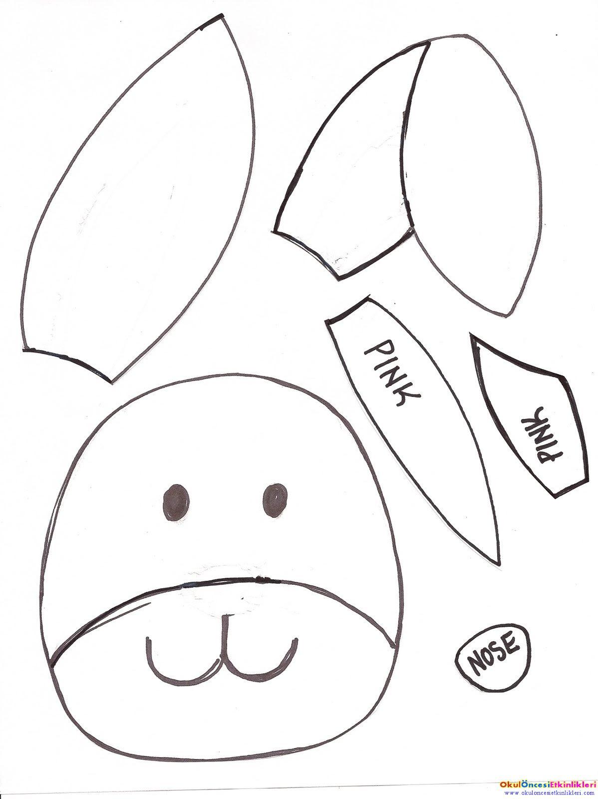 Tavşan Kalıp örnekleri Okul öncesi Etkinlikleri Hayallerinizi