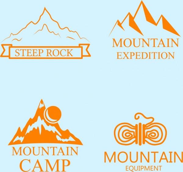 Koleksi Logo Gunung Berbagai Berwarna Sketsa Logo Vektor Vektor