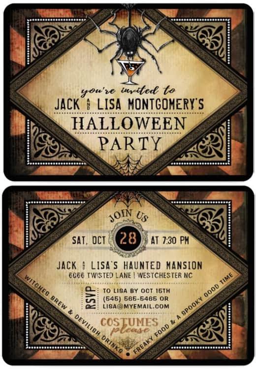 Halloween Gothic Spider Orange Cocktails Halloween Party Invitation