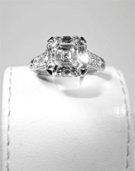 4.19 Carat Royal Asscher Cut Diamond Platinum Ring at 1stdibs