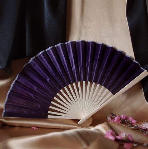 """9"""" Dark Purple Chinese Folding Silk Hand Fan for Weddings"""