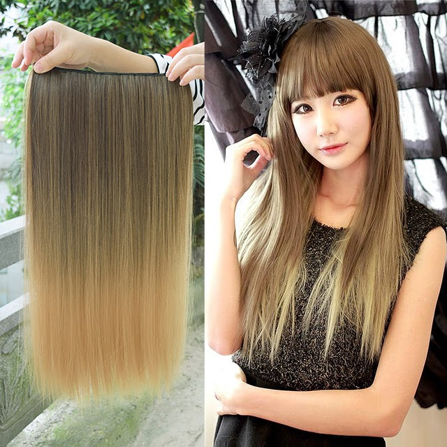 Get Cheap-DIFEI 3/4 Full Head Hairpieces One Piece 5 Clips 12colors Clips in on Hair Extensions Long Straight Omber Red Blonde Hair  Best Price