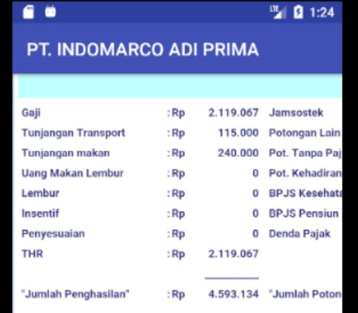 Contoh Slip Gaji Pt Indomarco Prismatama - Guru Paud