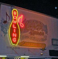 The Neon Sign of Rock N' Bowl
