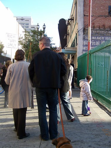 downtowners line up to vote