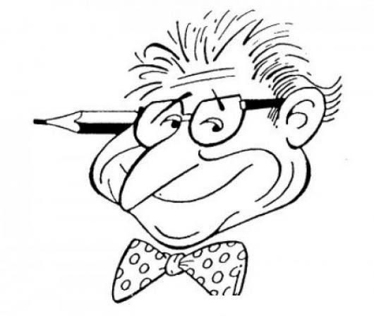 Dibujo De Profesor Con Lapiz En La Oreja Para Pintar Y Colorear