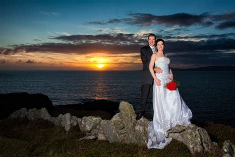 donegal wedding photographers bride and groom in front of