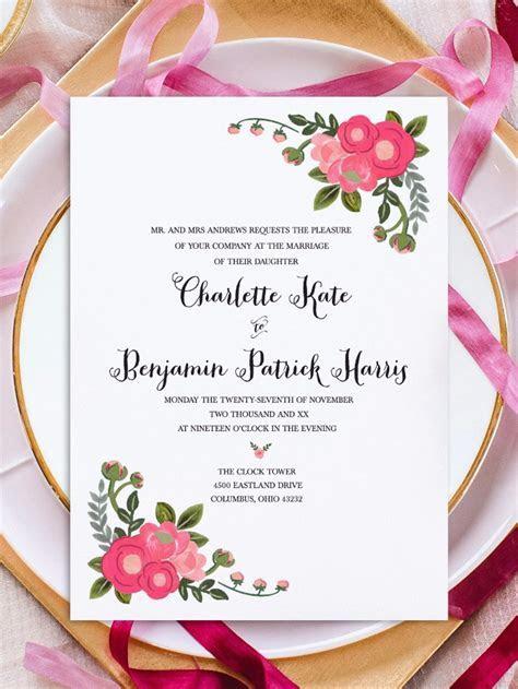 Print   Pink Flowers Free Printable Invitation Templates