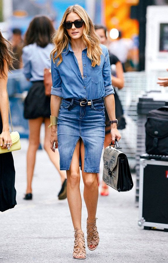 Le Fashion Blog Olivia Palermo Style Denim On Denim Skirt Chambray Shirt Top Handle Bag Nude Lace Up Sandals Via Elle Taiwan