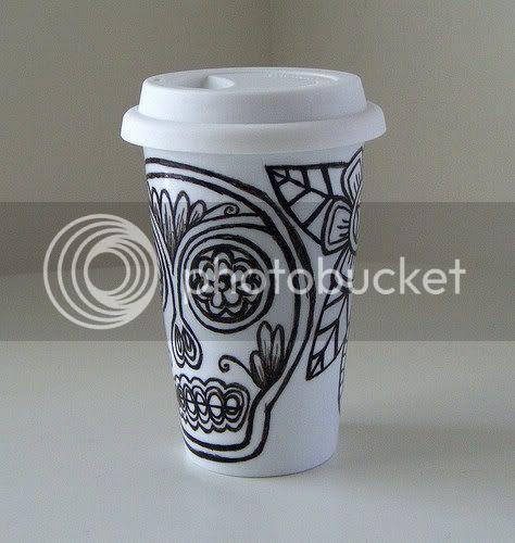 sugar skull eco friendly coffee cup