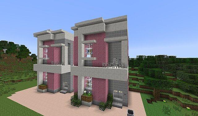 Barbie Pink Modren Townhouses Minecraft Project