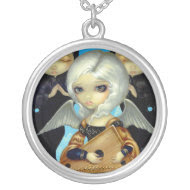 Angel with a Psaltery NECKLACE gothic music fairy necklace