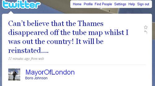 Boris Johnson Reinstating Thames on Tube Map