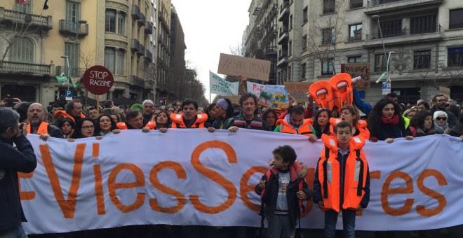 Imagen la marcha en Barcelona por los derechos de los refugiados. M.D.