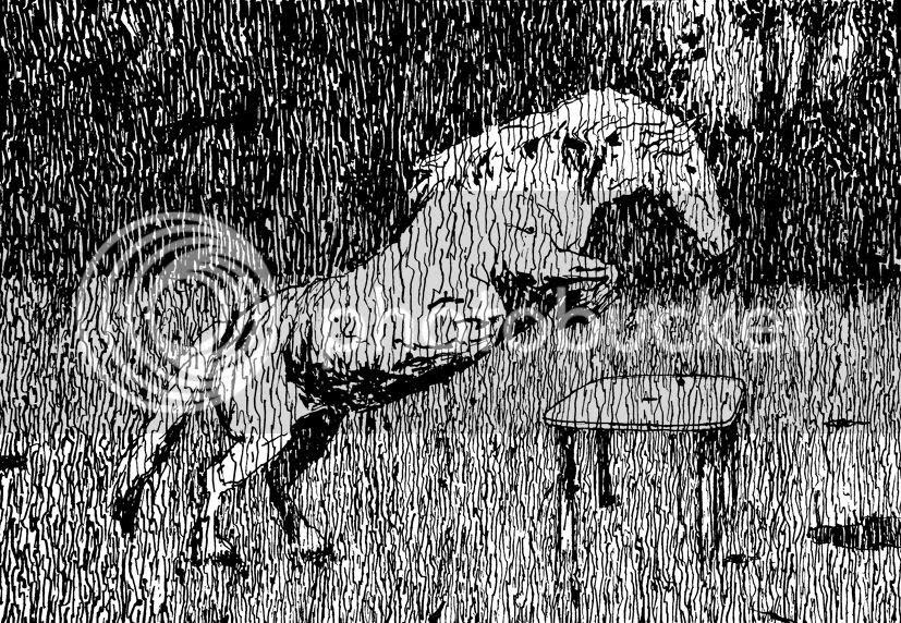 Le saut la table de jardin, dessin pierre guilhem encre de chine et bambou d'un cheval qui saute une table de jardin sous la pluie il s'agit bien d'un dessin contemporain une fois de plus de pierre guilhem