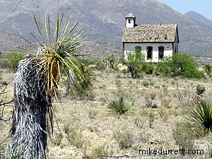 The small church at the Mescal movie location. Photo copyright 2003-2004 Mike Durrett, all rights reserved.