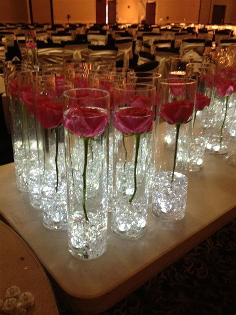 single rose in cylinder vase with submersable LEDS