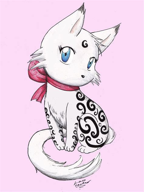 pin  silver cat  cats pinterest anime cat chibi
