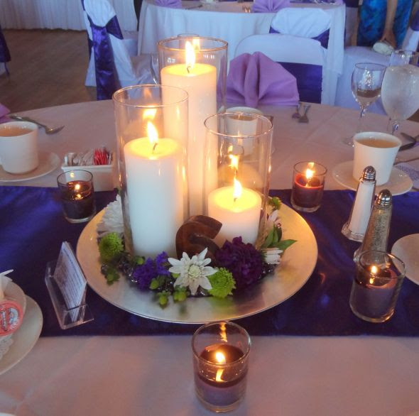 Our simple candle centerpiece   Weddingbee Photo Gallery