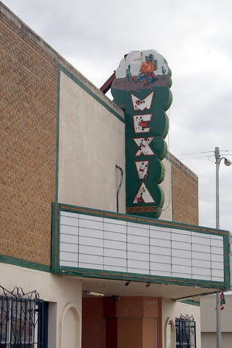 close-up of mexia theater sign