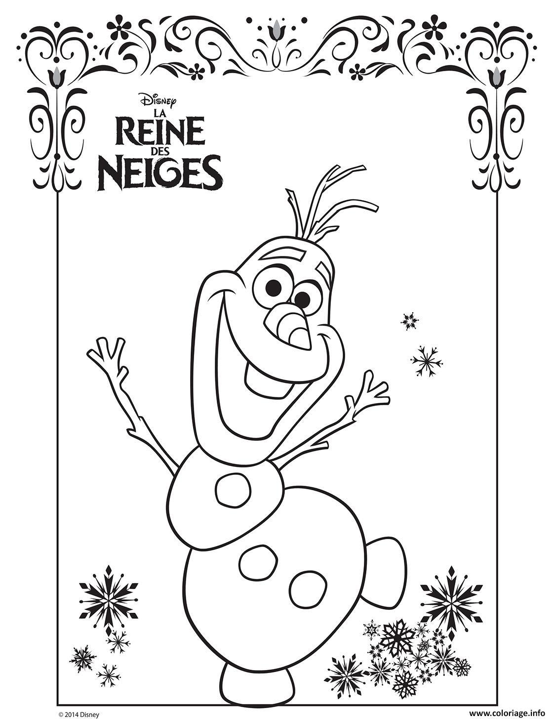 Coloriage Olaf La Reine Des Neiges Disney Frozen Jecoloriecom