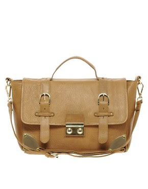 Image 1 of ASOS Leather Corner Detail Satchel Bag
