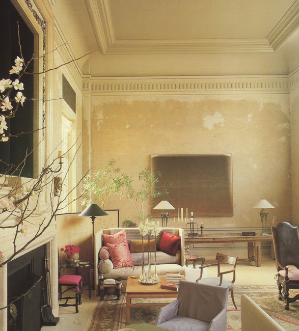 Saladino's wall of brown scatch-coat plaster using