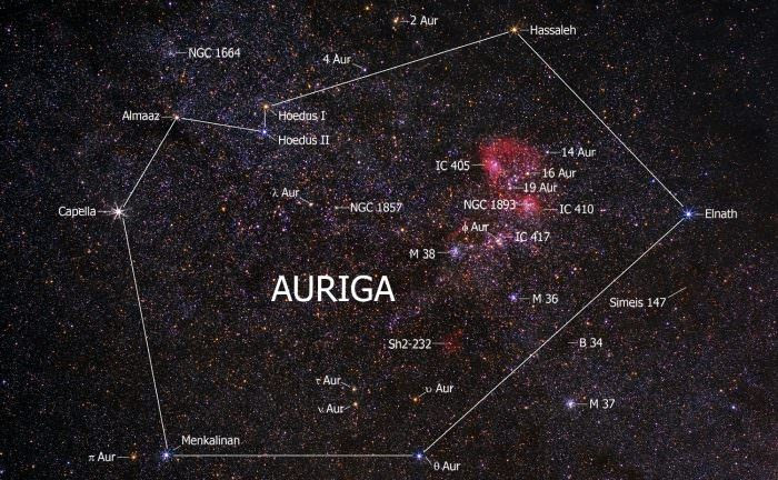 The northern constellation Auriga, showing the brightest stars of Capella, Menkalinan, and proximate Deep Sky Objects. Credit: stargazerslounge.com