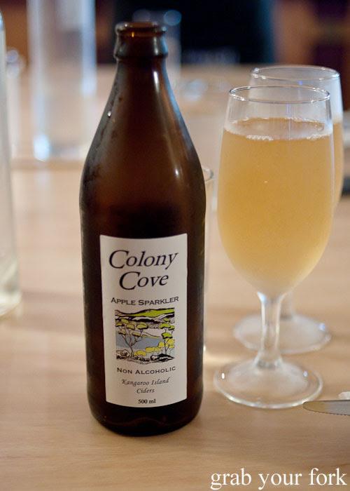 Colony Cove non-alcoholic apple sparkler at Bella Cafe, Kingscote, Kangaroo Island