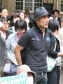 文科省前でデモを行なう山本太郎