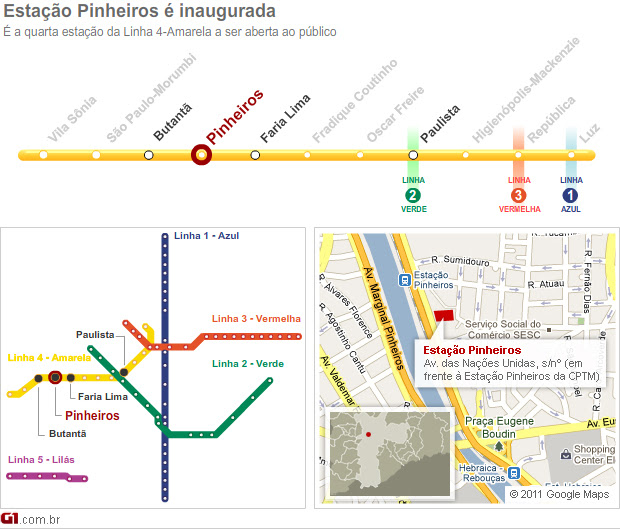 Estação Pinheiros do Metrô (Foto: Arte/G1)