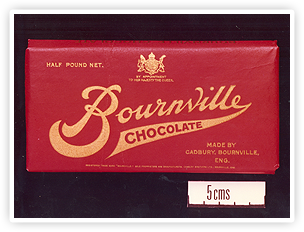 Early Bournville bar packaging.