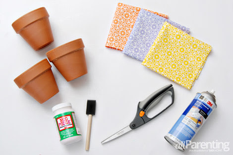 Fabric-covered terracotta pots
