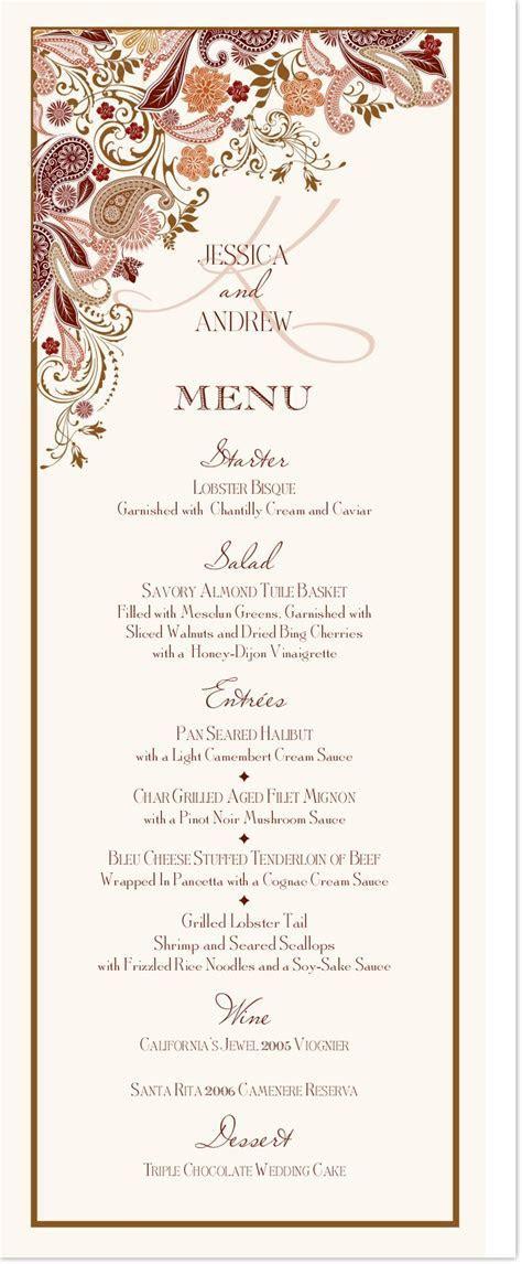 Wedding Menu Cards   Paisley Garden Menu Card Custom