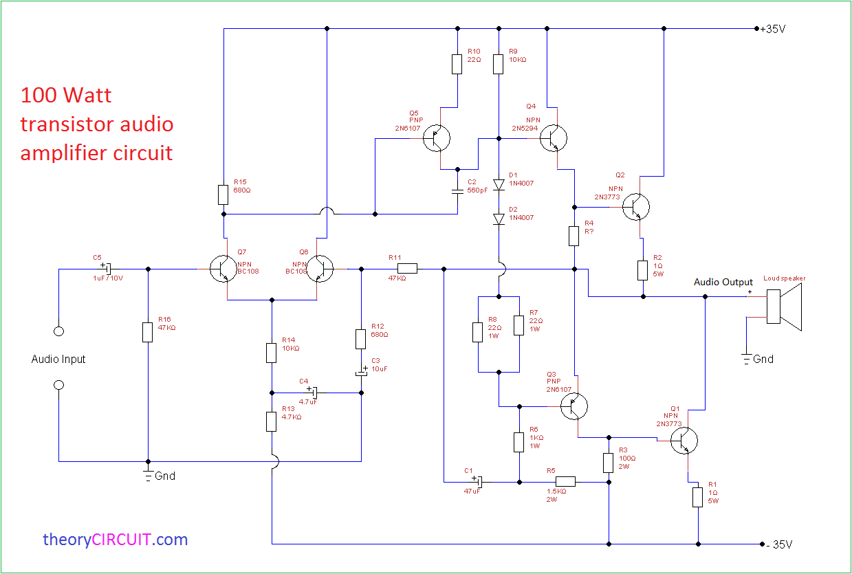 Stereo Audio Amplifier Using Two D718 Transistors