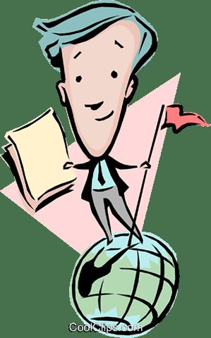 地球上の漫画に立っている人 ロイヤリティ無料ベクタークリップアート