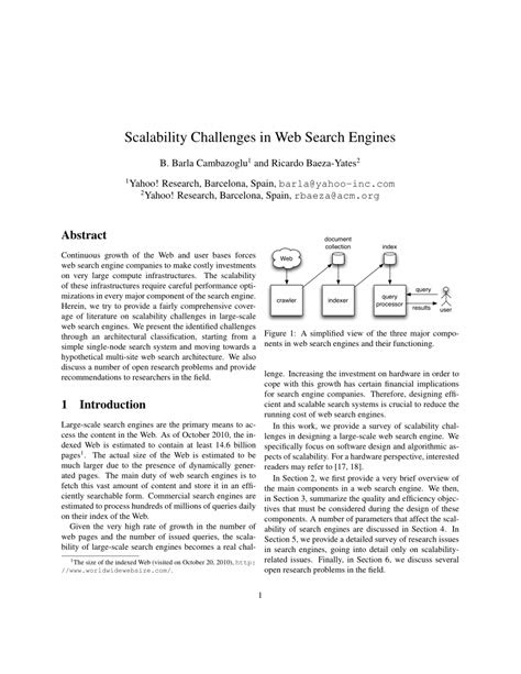 (PDF) Scalability Challenges in Web Search Engines