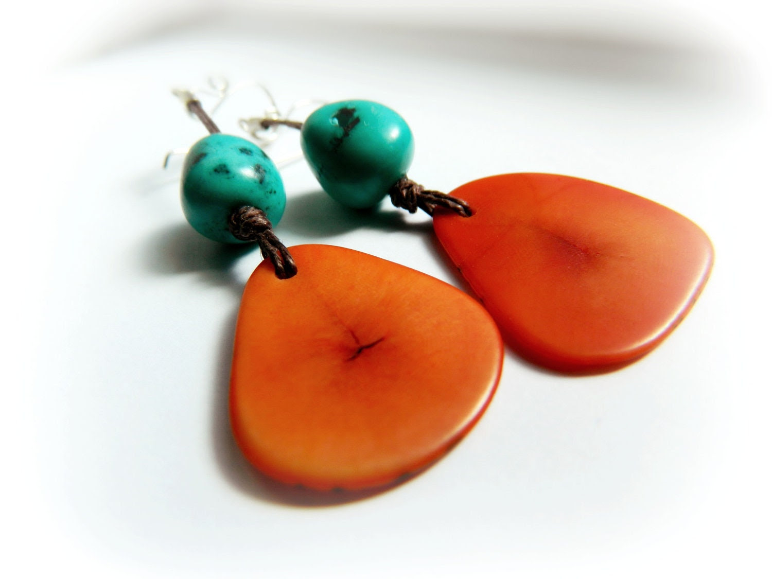 Tagua Tangerine Earrings - Turquoise Amazon Seed / Sterling Silver - TaniaCaveneciaTorres
