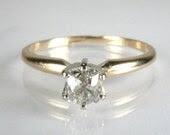 Unique Old Mine Cut Diamond Solitaire Engagement Ring