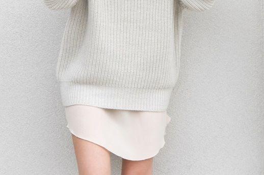 Le Fashion Blog Winter Style Light Grey Oversized Turtleneck Knit Pale Pink Mini Slip Via FIGTNY