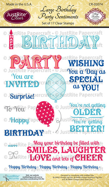 Large Birthday Party Sentiments Clear Stamps