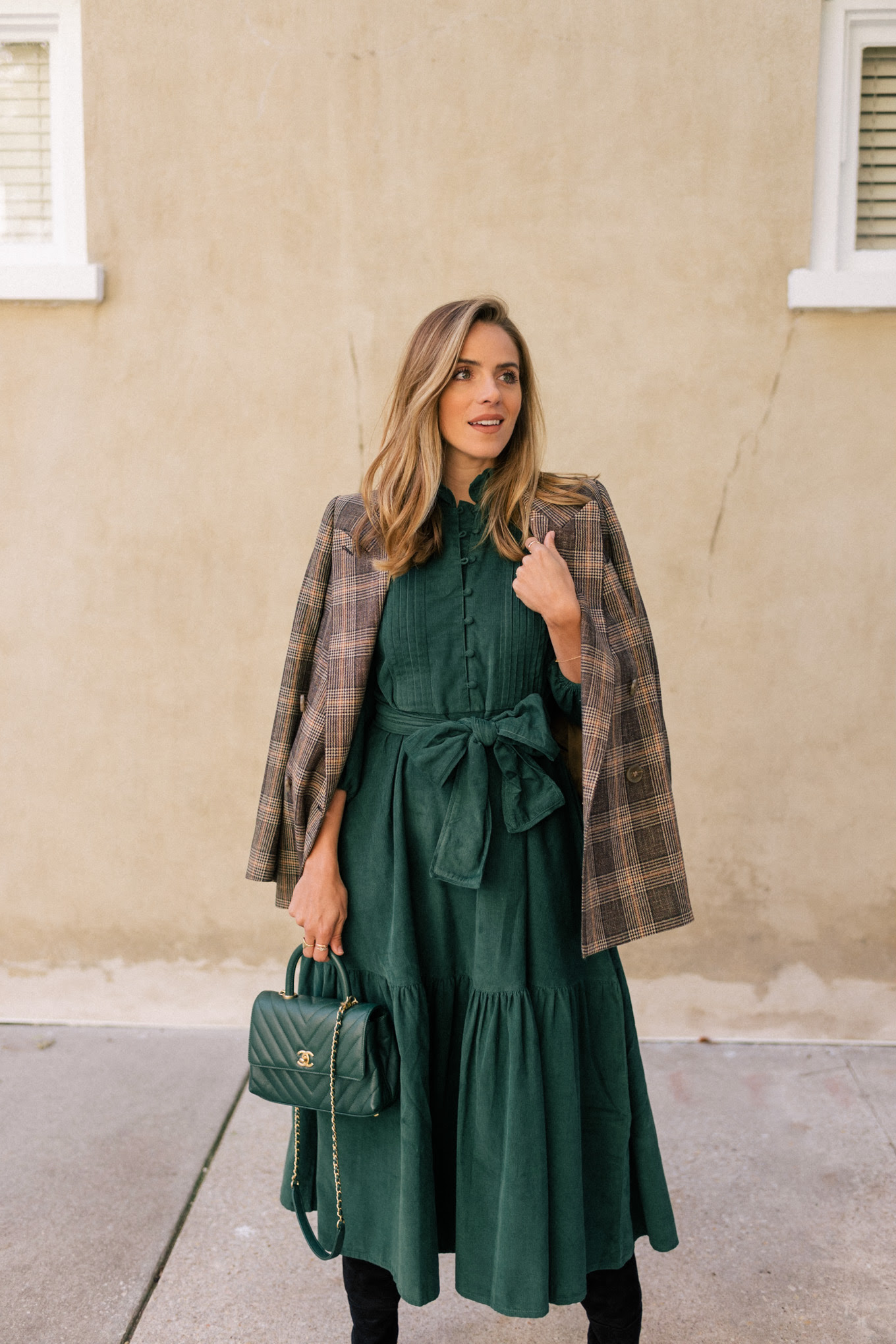green dress plaid blazer black boots