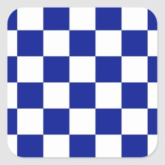 Royal Blue and White Checkered Pattern Square Sticker