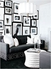 black and white photo display