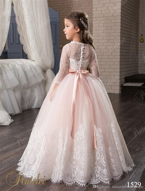 Blush Flower Girls Dresses With 3/4 Long Sleeves And